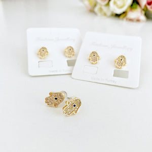 Hamsa Earrings, Hamsa Hand Stud Earrings, Evil Eye Earring, Zircon - Evileyefavor
