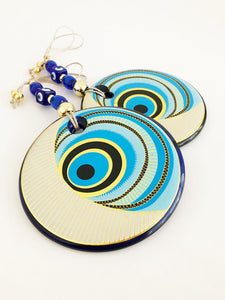 Blue Evil Eye Wall Hanging, Patterned Wall Hanging, Turkish Evil Eye - Evileyefavor