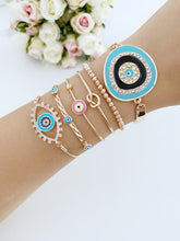 Evil Eye Bracelet, Bangle Bracelet, Turquoise Bead Bracelet, Greek Evil Eye - Evileyefavor