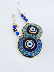 Blue Evil Eye Wall Hanging, Patterned Wall Hanging, Evil Eye Home Decor - Evileyefavor