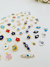 Evil Eye Charm, BULK enamel evil eye charm, 63 different styles - Evileyefavor