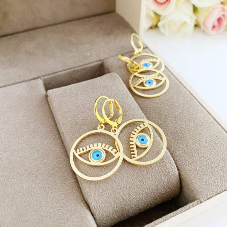 Gold Evil Eye Hoop Earrings, Evil Eye Hoop, Greek Evil Eye - Evileyefavor
