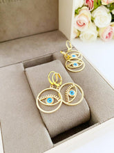 Evil Eye Earrings, Gold Hoop Earrings, Elegant Jewelry