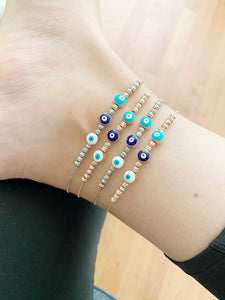 Evil Eye Ankle Bracelet, Rose Gold Silver Anklets, Turkish Evil Eye Anklets - Evileyefavor