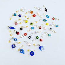 10 pcs Blue Evil Eye Bead, Evil Eye Safety Pin, Greek Evil Eye Bead, New Baby Gift