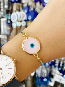 Pink Murano Evil Eye Bracelet, Adjustable Cotton String Bracelet, Evil Eye Bead