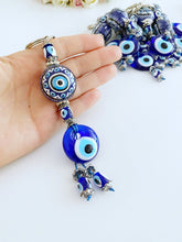 Blue Evil Eye Keychain, Ceramic Ball Charm Keychain, Evil Eye Key Ring