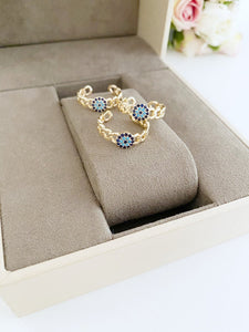 Adjustable Evil Eye Ring, Gold Curb Chain Ring, Gold Ring