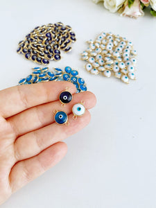 10 pcs Glass Evil Eye Charm, 10mm Evil Eye Connector, Gold Silver Beads