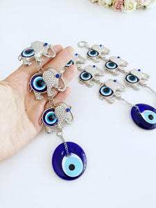 Elephant Evil Eye Wall Hanging, Evil Eye Home Decor, Metal Wall Hanging