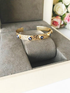 Gold Evil Eye Bracelet Set, Bangle Bracelet, Blue Evil Eye, Seed Beads Bracelet