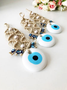 Evil Eye Wedding Favor, White Evil Eye Bead,10 pcs, Macrame Decor