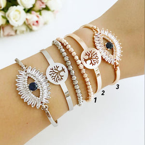 Evil Eye Baguette Bracelet, Tree of Life Bangle Bracelet, Rose Gold Silver