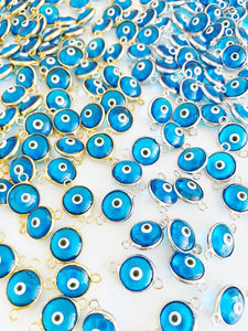 Turquoise Evil Eye Connector, 10mm, Gold Silver Evil Eye Charm