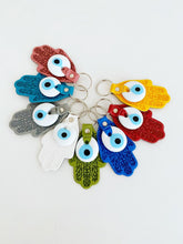 Leather Hamsa Hand Keychain, White Blue Evil Eye Beads, Lucky Keychain