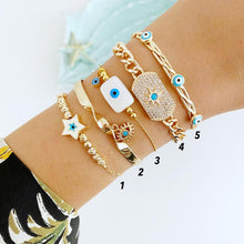 Gold Chain Bracelet, Evil Eye Bracelet, Zircon Star Bracelet, Evil Eye Jewelry