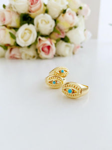 Gold Evil Eye Ring, Signet Ring, Adjustable Ring, Greek Evil Eye