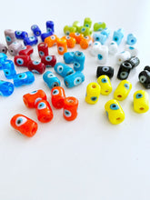 Tube Evil Eye Murano Beads, 1 to 10 pcs Glass Tube Beads, Evil Eye Jewelry Supply