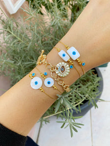 Gold Evil Eye Bracelet, Mother of Pearl Bracelet, Evil Eye Jewelry, Gold Chain
