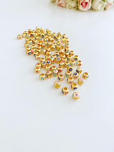 Evil Eye Beads, Square Spacer Beads on Four Sides, Evil Eye Brass Beads, Cube