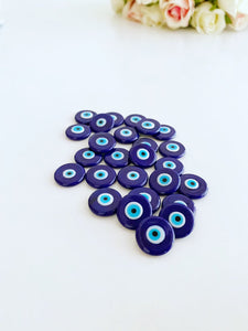 15mm Blue Evil Eye Cabochons, Handmade Glass Evil Eye Cabs, DIY Jewelry