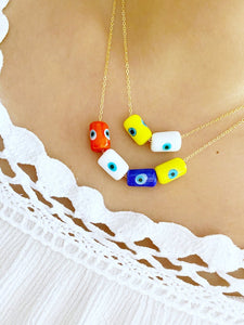 Evil Eye Necklace, Customized Necklace, Handmade Murano Tube Beads Necklace