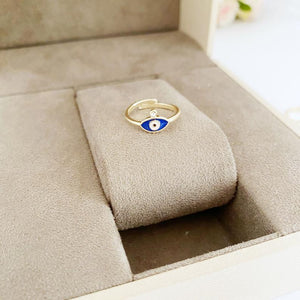 Tiny Evil Eye Ring, Gold Rings, Adjustable Ring, Minimalit Evil Eye Ring