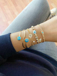 Gold Evil Eye Bracelet, Bangle Bracelet, Pandora Bracelet