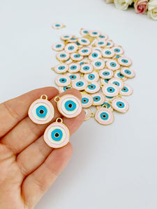 Pink Evil Eye Charm, Gold Plated Evil Eye Bead, Evil Eye Necklace