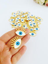 Gold Evil Eye Charm, Evil Eye Pendant, Eye-shaped Bead