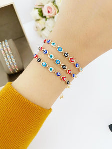 Lucky Evil Eye Bracelet, Multicolor Evil Eye Bracelet, Adjustable Bracelet