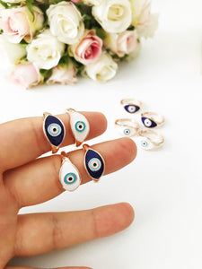 Dainty Evil Eye Ring, Gold Evil Eye Ring, Adjustable Ring, White Pink Evil Eye