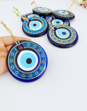 Blue Evil Eye Bead, 8.5cm, Patterned Evil Eye Bead