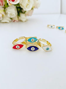 Evil Eye Ring, Adjustable Ring, Gold Band Ring, Blue White Red Evil Eye