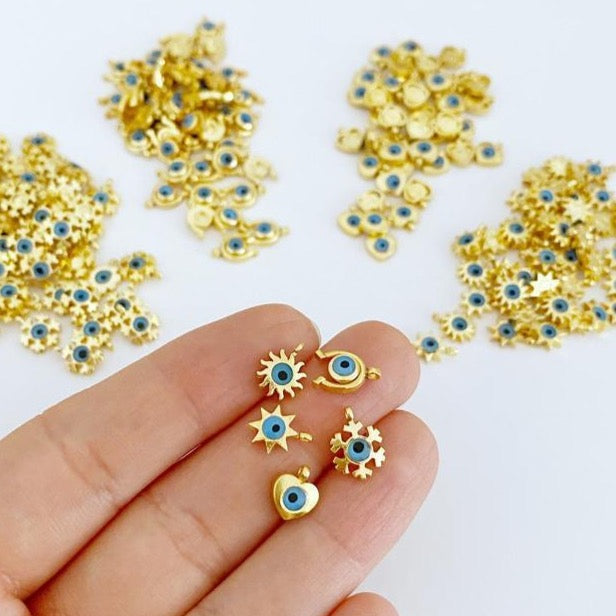 5 pcs Gold Mini Evil Eye Charm, Mini Evil Eye Pendant, Heart Star Horseshoe Snowflake Charms