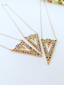 Triangle Necklace, Rainbow Zircon Charm, Rose Gold Necklace, Geometric Necklace