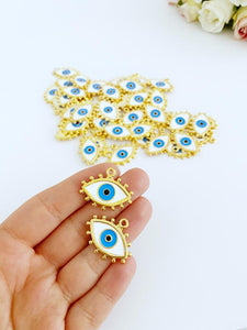 White Evil Eye Charm, Enamel Evil Eye Bead, Gold Evil Eye Pendant