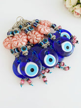 Blue Evil Eye Wall Hanging, Wall Hanging, Home Decoration, Pink Bead