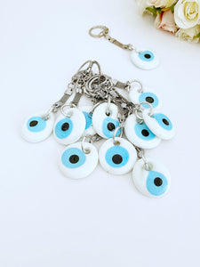 White Evil eye keychain, Glass Evil Eye Beads, Silver Keychain