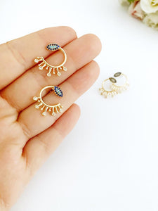 Gold Evil Eye Stud Earrings, CZ Paved Evil Eye Earrings Stud, Trendy Evil Eye Earrings