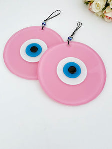 Evil Eye Wall Decor, Pink Evil Eye Glass Bead, Handmade Evil Eye Wall Hanging