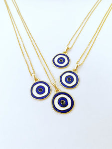 Blue Evil Eye Necklace, Lucky Charm Evil Eye, Gold Necklace, Brass Evil Eye Bead
