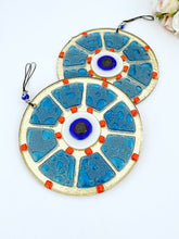 Handmade Glass Evil Eye Bead, Evil Eye Wall Hanging, Blue Evil Eye Bead, Fused