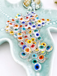 10 pcs Evil eye beads, clear evil eye charm, murano glass beads, rainbow glass charm