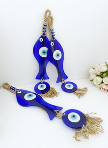Lucky Evil Eye Wall Hanging, Blue Fish Evil Eye Bead, Handmade Glass Home Decor