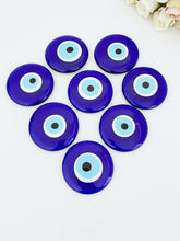 Blue Evil Eye Bead, Handmade Glass Bead with no Hole, 7cm, Greek Evil Eye