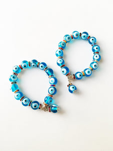 Glass Evil Eye Bead Bracelet, Glass Turquoise Bead Bracelet, Greek Jewelry - Evileyefavor