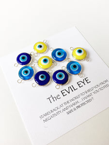 Two connectors glass evil eye charms, blue yellow turquoise evil eye pendants - Evileyefavor