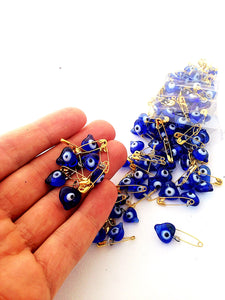 Unique wedding favor - 25 pcs - glass evil eye beads - tiny evil eye safety pins - Evileyefavor