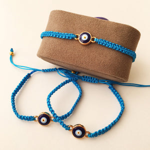 Blue Evil Eye Bracelet, Thread Bracelet, Protection Bracelet - Evileyefavor